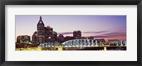 Framed Skylines and Shelby Street Bridge at dusk, Nashville, Tennessee, USA 2013