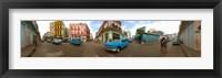 Framed 360 degree view of street scene, Havana, Cuba