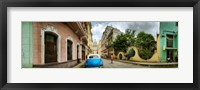 Framed Car in a street with a government building in the background, El Capitolio, Havana, Cuba