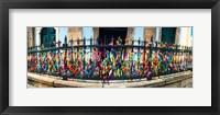 Framed Colorful Bonfim wish ribbons tied around at Church of Nosso Senhor do Bonfim, Pelourinho, Salvador, Bahia, Brazil