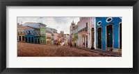 Framed Colorful buildings, Pelourinho, Salvador, Bahia, Brazil