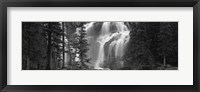 Framed Waterfall in a forest, Banff, Alberta, Canada (black and white)