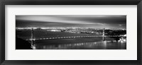 Framed Golden Gate Bridge and San Francisco Skyline Lit Up (black & white)