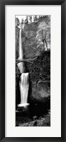 Framed Footbridge in front of a waterfall, Multnomah Falls, Columbia River Gorge, Multnomah County, Oregon (black and white)