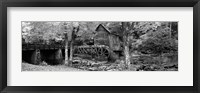Framed Black & White View of Glade Creek Grist Mill, Babcock State Park, West Virginia, USA