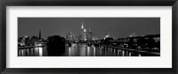 Framed Reflection of buildings in water, Main River, Frankfurt, Hesse, Germany