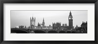 Framed Houses of Parliament, Westminster Bridge and Big Ben, London, England