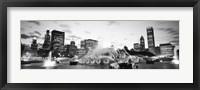 Framed Buckingham Fountain, Grant Park, Chicago, Illinois (black & white)