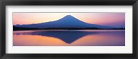 Framed Mt Fuji reflection in a lake, Shizuoka Japan