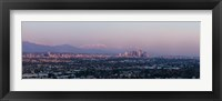 Framed City with mountains in the background, Los Angeles, California, USA