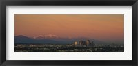 Framed High angle view of a city at dusk, Los Angeles, California, USA