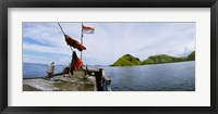 Framed Boat in the sea with islands in the background, Flores Island, Indonesia