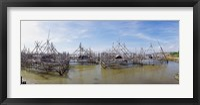 Framed Fishing platforms along coast of Madura Island, Indonesia