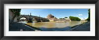 Framed Bridge across a river with mausoleum in the background, Tiber River, Ponte Sant'Angelo, Castel Sant'Angelo, Rome, Lazio, Italy