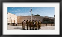 Framed Israeli soldiers being instructed by officer in plaza in front of Western Wall, Jerusalem, Israel