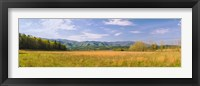 Framed Field with a mountain range in the background, Cades Cove, Great Smoky Mountains National Park, Blount County, Tennessee, USA