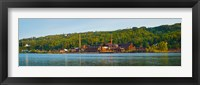 Framed Abandoned copper mine at the waterfront, Keweenaw Waterway, Houghton, Upper Peninsula, Michigan, USA