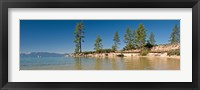 Framed Sand Harbor at morning, Lake Tahoe, Nevada, USA
