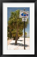 Framed Mile marker zero at Pass-A-Grille, St. Pete Beach, Tampa Bay Area, Tampa Bay, Florida, USA