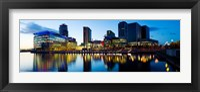 Framed Media City at dusk, Salford Quays, Greater Manchester, England 2012