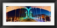 Framed Millennium Bridge at night, Salford Quays, Salford, Greater Manchester, England