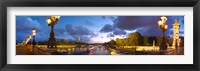 Framed 360 degree view of the Pont Alexandre III bridge at dusk, Seine River, Paris, Ile-de-France, France