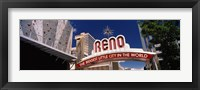 Framed Low angle view of the Reno Arch at Virginia Street, Reno, Nevada