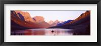 Framed St. Mary Lake at US Glacier National Park, Montana, USA