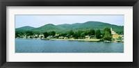 Framed Lake George shore line, New York State, USA