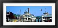 Framed Minne Ha Ha Steamboat at dock, Lake George, New York State, USA