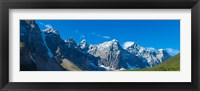 Framed Mountains over Moraine Lake in Banff National Park in the Canadian Rockies near Lake Louise, Alberta, Canada