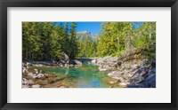 Framed McDonald Creek along Going-to-the-Sun Road at US Glacier National Park, Montana, USA
