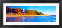 Framed Forty Mile Point Lighthouse on the beach, Michigan, USA