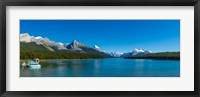Framed Lake with mountains in the background, Maligne Lake, Jasper National Park, Alberta, Canada