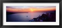 Framed Town at sunset, Santorini, Cyclades Islands, Greece