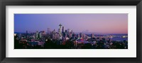 Framed High angle view of a city at sunrise, Seattle, Mt Rainier, Washington State