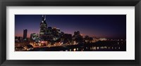Framed Skylines at night along Cumberland River, Nashville, Tennessee, USA 2013