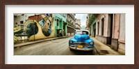 Framed Old car and a mural on a street, Havana, Cuba