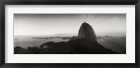 Framed Sugarloaf Mountain at sunset, Rio de Janeiro, Brazil (black and white)