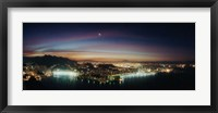 Framed Rio de Janeiro lit up at night viewed from Sugarloaf Mountain, Brazil