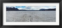 Framed Track created by one of the mysterious moving rocks at the Racetrack, Death Valley, Death Valley National Park, California, USA