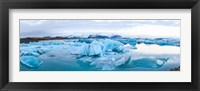 Framed Icebergs floating in glacial lake, Jokulsarlon, South Iceland, Iceland