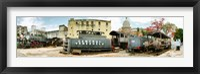 Framed Old trains being restored, Havana, Cuba