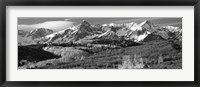 Framed Mountains covered with snow and fall colors, near Telluride, Colorado (black and white)