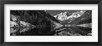 Framed Reflection of a mountain in a lake in black and white, Maroon Bells, Aspen, Colorado