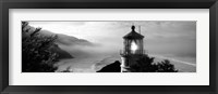 Framed Heceta Head Lighthouse in Black and White, Oregon