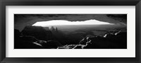 Framed Mesa arch at sunrise in black and white, Canyonlands National Park, Utah