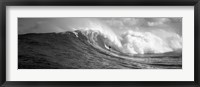 Framed Surfer in the sea in Black and White, Maui, Hawaii