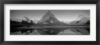 Framed Reflection of mountains in a lake, Swiftcurrent Lake, Many Glacier, US Glacier National Park, Montana, USA (Black & White)