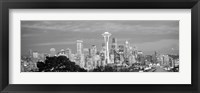 Framed View of Seattle and Space Needle in black and white, King County, Washington State, USA 2010